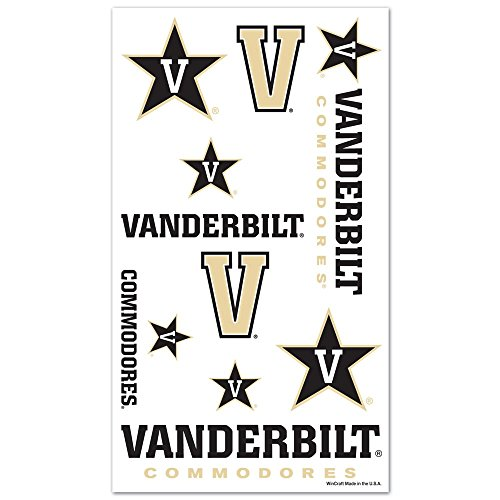 (WinCraft Vanderbilt Commodores Official NCAA 4 inch x 7 inch Temporary Tattoos by 843944 )