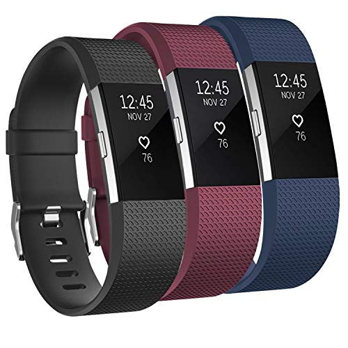 Amzpas 3 Pack Bands Compatible with Fitbit Charge 2 Bands Small Large Soft Sport Replacement Accessories Wristbands for Women Men (Large, Black/Wine red/Navy Blue)