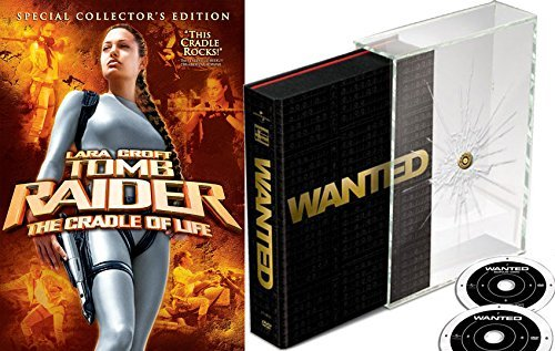 Wanted Collectors Edition DVD 2 Pack + Lara Croft Tomb Raider Cradle of Life Action Movie Set Angelina Jolie ()