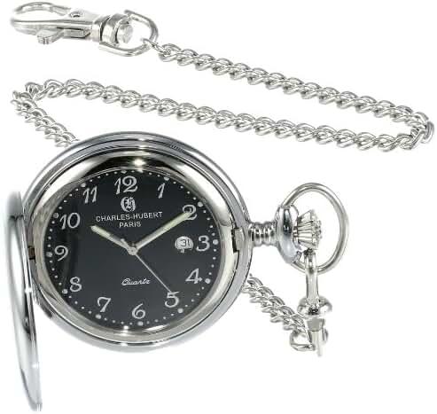 Charles-Hubert, Paris 3599-B Stainless Steel Quartz Pocket Watch