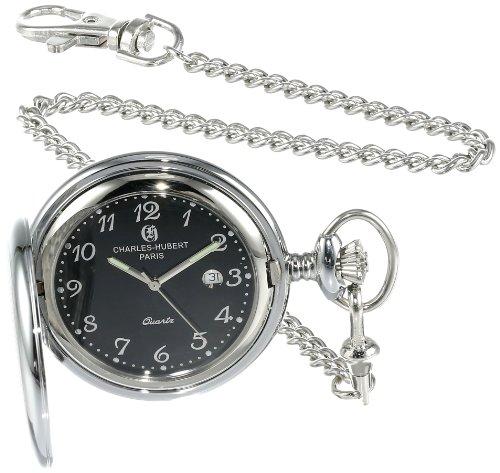 s 3599-B Stainless Steel Quartz Pocket Watch (Black Date Pocket Watch)