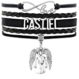 Castiel Bracelet - Handmade Black Vegan Leather Suede Wrist Wrap with Angel Wings and Trench Coat Charms