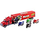 """Toy Truck Mega Big Rig Trailer Semi Truck 24"""" Children's Friction Toy Truck Container w/ 4 Toy Motorcycles, No Batteries Required (Red Truck)"""