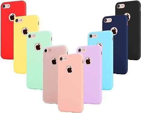 Leathlux 9 Coque Compatible avec iphone 8 4.7 Pouces Étui Silicone, Mince Souple TPU Housse Protection Gel Cover Case Rose, Vert, Violet, Bleu Ciel, ...