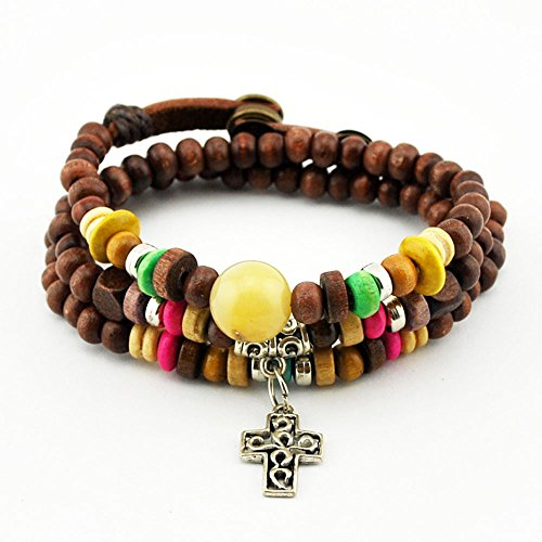 November's Chopin (TM) Unique Art Metal Cross Pendant Wood Beads Three Row Adjustable Wrap Bracelet