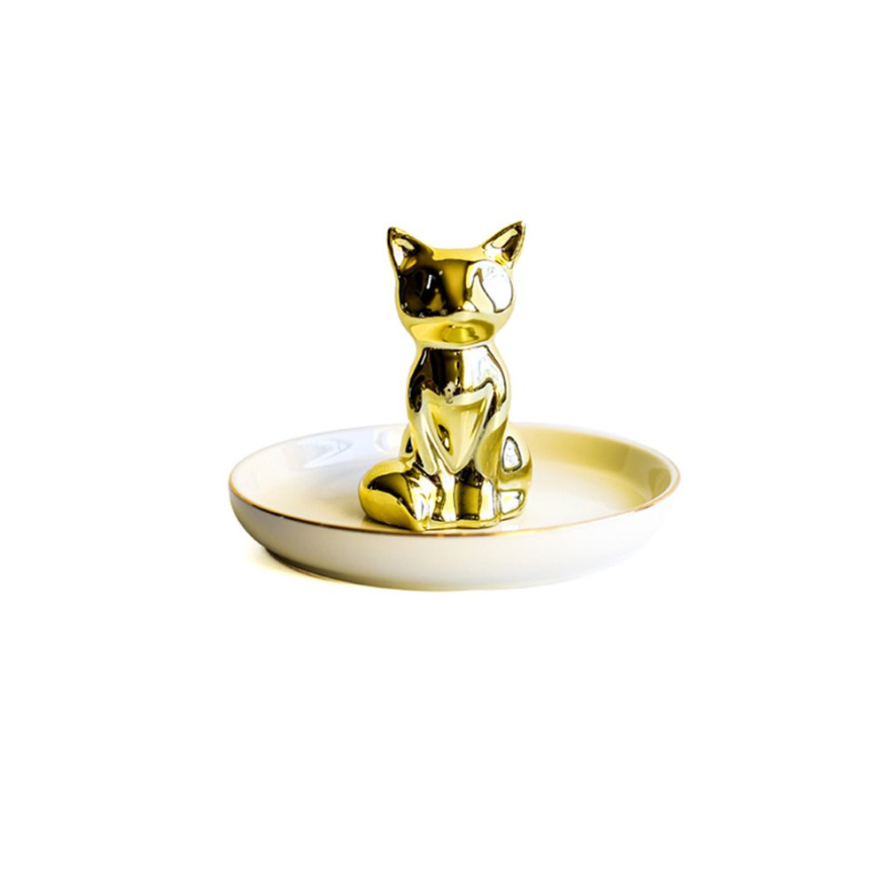 Colias Wing Home Decoration Desk Ornaments-Adorable Animal Fox Stylish Design Ceramic Trinkets Tray Necklace Earrings Rings Stand Display Organizer Holder Jewelry Holder Decor Dish Plate-Golden