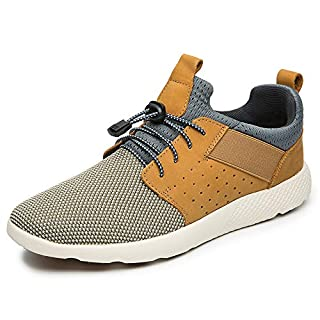 LANGBAO Breathable Flying Woven Walking Shoes Men's Athletic Lace-up Sneakers Classic Lightweight 7036-1 Light Brown 11.5