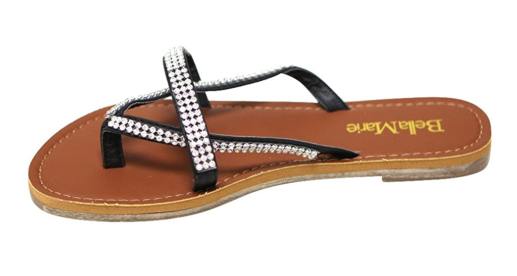 Bella Marie SS-2 Womens Thong Toe tri-Bands with Beads Decor flip-Flops