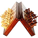 BKRAFT4U 12x12 Inch Chess Set - Handmade Wooden Rosewood Foldable Magnetic Chess Game Board with Storage Slots, 12 inch 2 Queens