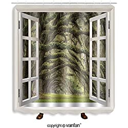 Vanfan designed Windows 103966529 Oaks Avenue Charleston SC plantation Live Oak tree Shower Curtains,Waterproof Mildew-Resistant Fabric Shower Curtain For Bathroom Decoration Decor With Shower Hooks