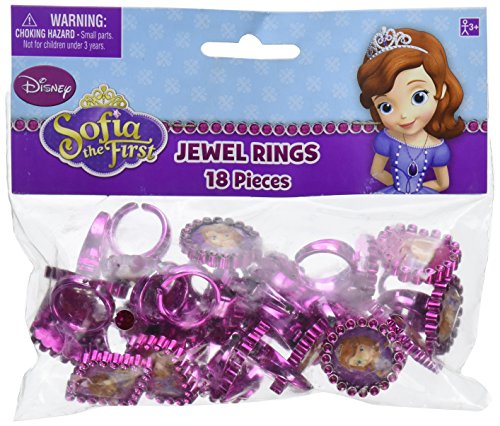 Disney Sofia the First Jewel Ring Princess Birthday Party Accessory Favour and Prize Giveaway (18 Pack), Multi Color, 1