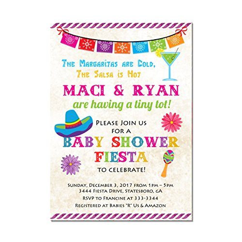 Mexican Fiesta Baby Shower Invitation, Set of 10 invitations with white envelopes ()