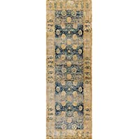 Alexander Home Contessa Blue/ Gold Runner Rug (27 x 120)