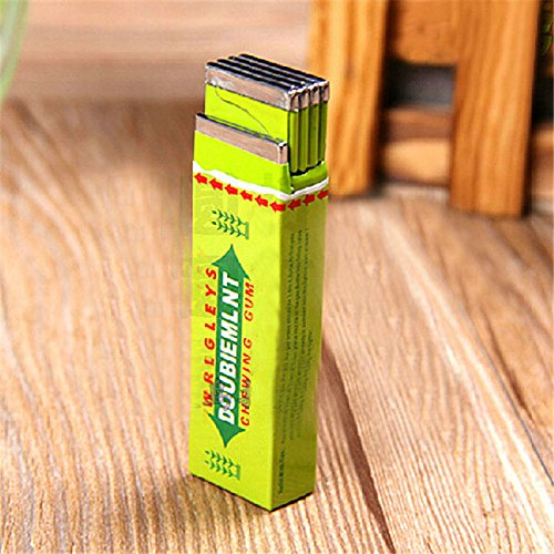 Doublemint Chewing Gum Shaped Cigar Lighter Refillable Butane Gas Cigarette Flame Lighter - Green 1 Pcs