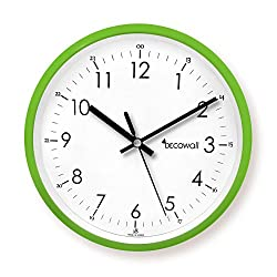 Decowall DSH-M22GN 8.8 Non-Ticking Silent Modern Pastel Wall Clock DIY for Living Room Bedrooms Office Kitchens (Green, 22.5cm)