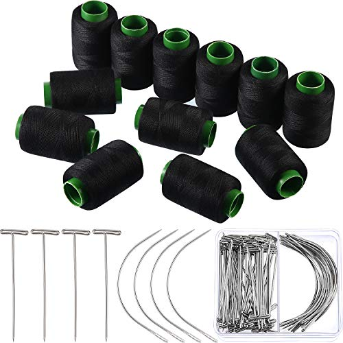Boao 82 Pieces Wig Making Pins Needles Thread Set, 50 Pieces T Pins and 20 Pieces C Curved Needles with 12 Rolls Thread for Wig Making, Blocking Knitting, Modelling and Crafts