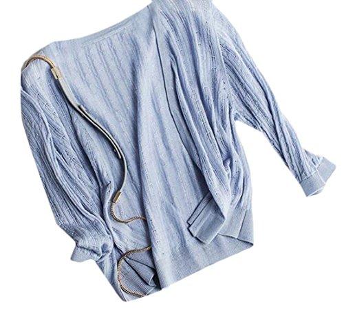 Donna Maniche Giubotto Con Blau Colore Di Puro Moda Marca Cardigan Mode Accogliente Cerniera Lunghe Eleganti Outerwear Cappotto Giacca Corto MVzpqSLUG