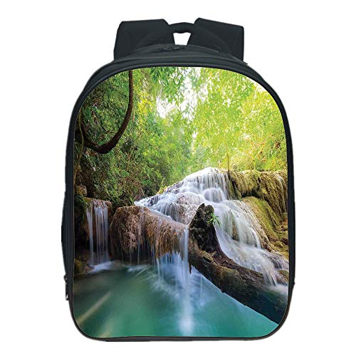 Personal Tailor Kids School Backpack,Waterfall,Landscape with Flowing Water of Erawan Cascade in Rain Forest,Light Green Turquoise Brown,for Students,Diversified Design.13.0