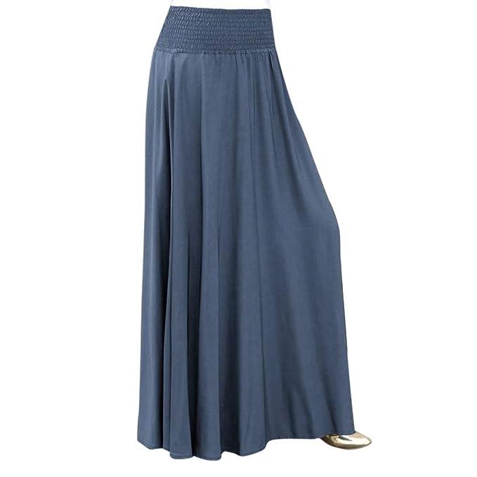 beautyjourney Falda Larga Mujer A-Line Vintage Falda Plisada Cintura  elástica Faldas largas y Elegantes de Columpio Falda Skater Suelta de Color  Liso  ... 6fd6aa2c796e