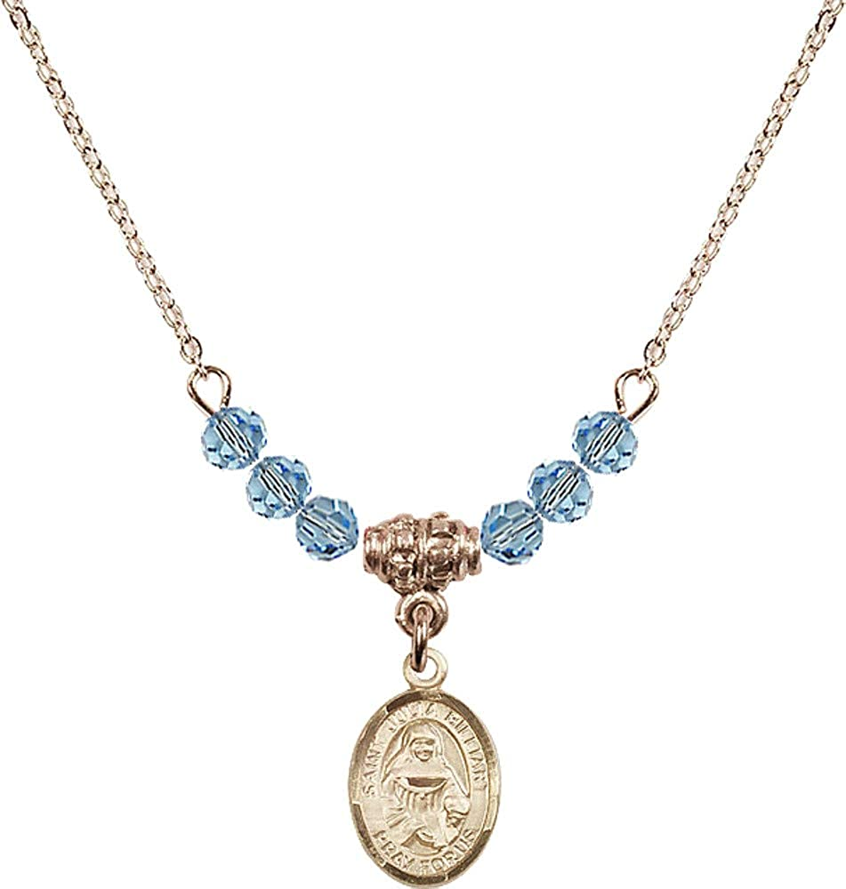 Bonyak Jewelry 18 Inch Hamilton Gold Plated Necklace w// 4mm Blue March Birth Month Stone Beads and Saint Julia Billiart