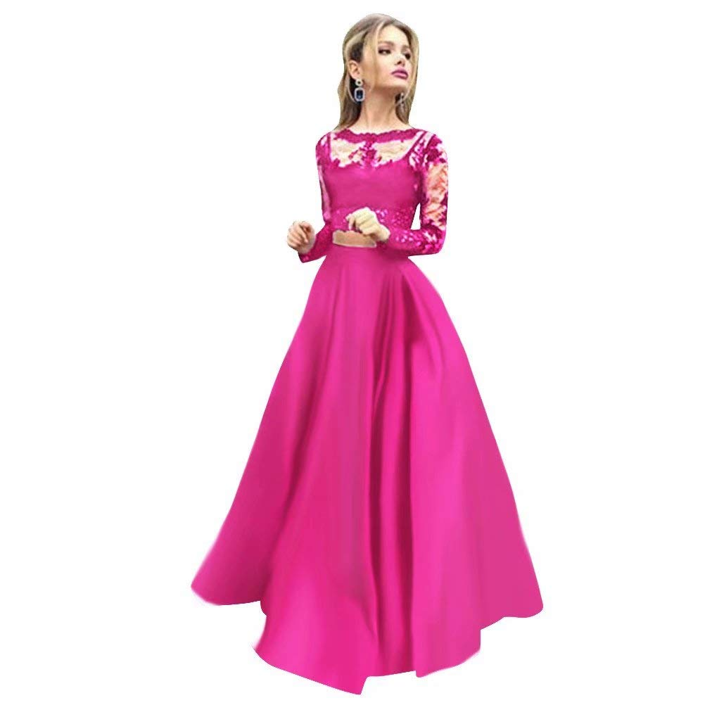 color 3 Women Floral Lace Dress Long Sleeve Flare Prom Gown