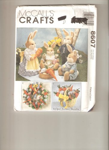 McCall's 8607 Crafts Pattern, Bunnies with Clothes in Four Sizes, Easter Basket, Fruit - Easter Pattern Basket