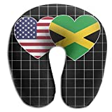 JAMAICA USA Flag Twin Heart Pattern Super Comfortable U Type Pillow Neck Pillow Relex Pillow Travel Pillow With Resilient Material