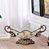 European style Double handle Country style Fruit tray Thicker base fashion High capacity Pastry dish coffee table Home Decoration Candy plate Living room Decoration large