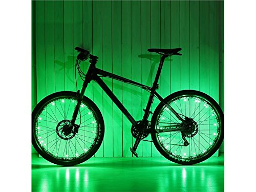 - Gelaiken Bikes Taillight Ultra Bright LED Bike Wheel Light String Assorted Colors Bicycle Tire Accessories- Burning Bike Accessory (Green)
