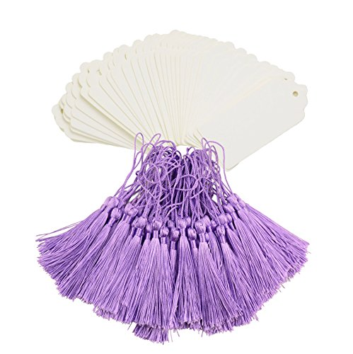 Pink Wedding Tag (Makhry 100 Pcs Imported Rectangle Kraft Paper Bookmarks Gift Tags Wedding Favor Bonbonniere Favor Thank You Gift Tags with 100 pcs Tassels (White&Purple))