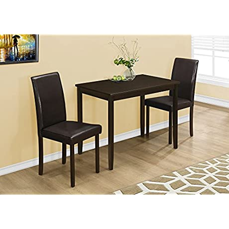 Monarch Specialties I 1015 Dining Set Set Parson Chairs Cappuccino 3pcs
