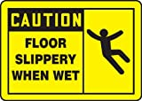 2PK Accuform MSTF619VP Housekeeping & Hygiene Slips Trips & Falls CAUTION FLOOR SLIPPERY WHEN WET(GRAPHIC)10''x14'' Plstc