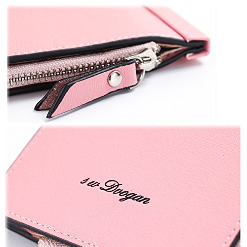 Pink Pochette Porte Cuir en Card TENGGO Femmes De en Téléphone Cartes Gris Microfibre Multi Slots Les HznPqw6