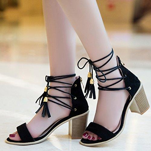 d786ea247a3c4c ... AIYOUMEI Damen Wildleder Blockabastz Chunky Heel Sandalen mit Schnürung  und 8cm Absatz Elegant Sommer Schuhe Schwarz