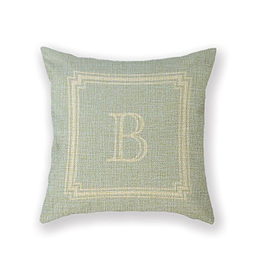 Customized Standard Pillowcase White Initial Monogram Framed Throw Pillow 20 X 20 Square Cotton Linen Pillowcase Throw Pillow Cover Cushion