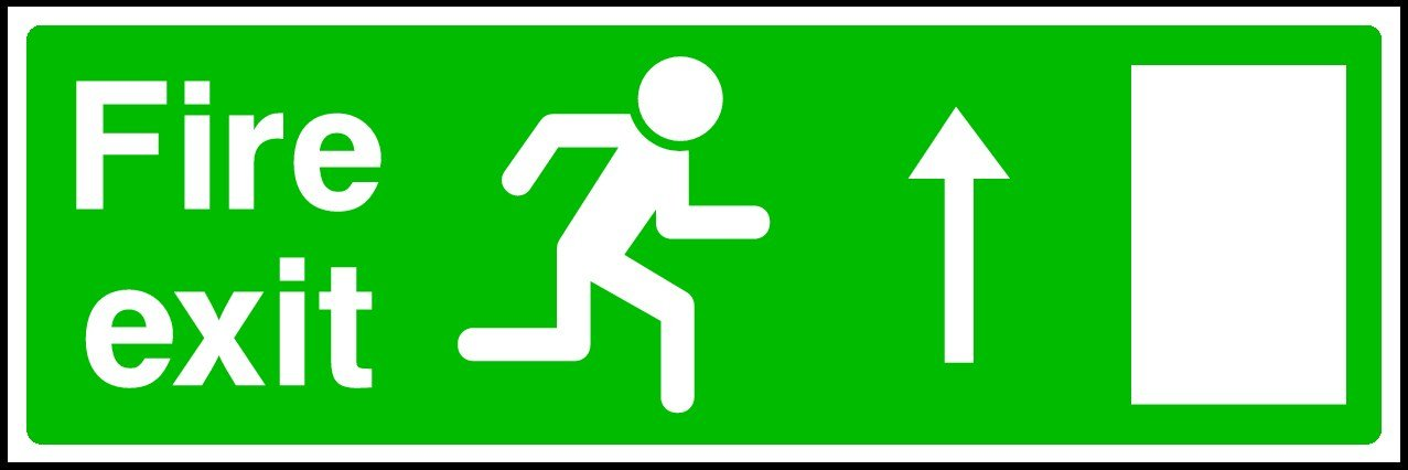 Wootton Industries Limited Self Adhesive Sticker VAT Invoice Supplied. 20cmx6cm Fire Exit Sign