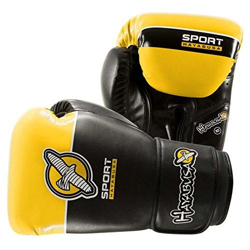 Leather Aerobic Boxing Gloves - Hayabusa Sport Boxing Gloves (Black/Yellow, 10 oz)