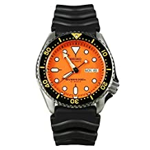 Seiko Diver Orange Dial Automatic Mens Watch SKX011J1