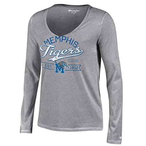 Champion NCAA Memphis Tigers Women's University Long sleeve V-Neck T-Shirt, Large, Gray (Gear Tigers Memphis Fan)