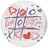 xoxo kitchen products - Round Rug Mat Carpet,Valentines Day Decor,Xoxo Game with Lips Sketchy Circles Hearts Romantic Love Theme,Blue Red and White,Flannel Microfiber Non-slip Soft Absorbent,for Kitchen Floor Bathroom
