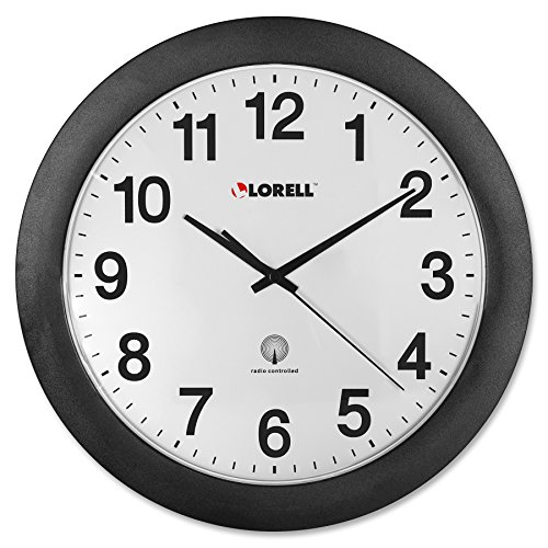 Lorell Wall Clock with Arabic Numerals, 12-Inch, White Dial/Black Frame
