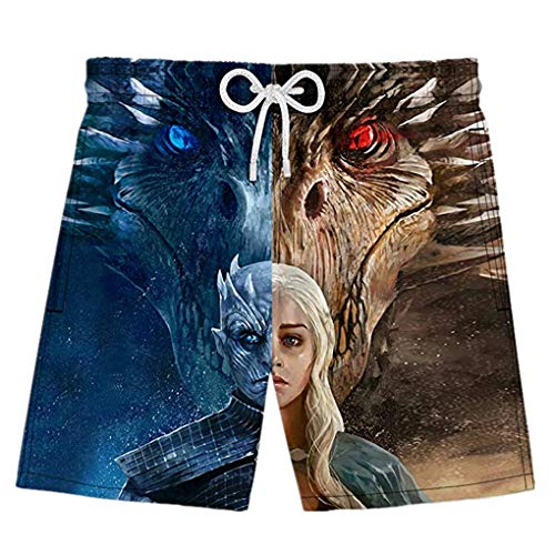 Unisex Game of Thrones Season 8 Beach Shorts Mother of Dragons Beach Pants 3D Print Swim Trunks (Season 8 Pants 02, L) ()
