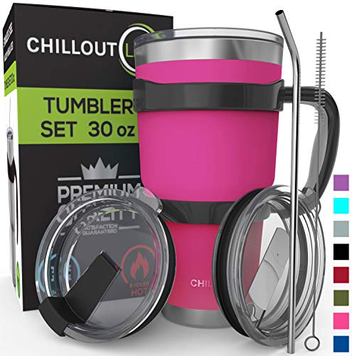Stainless Steel Travel Mug with Handle 30oz – 6 Piece Set. Tumbler with Handle, Straw, Cleaning Brush & 2 Lids. Double Wall Insulated Large Coffee Mug Bundle – Hot Pink Powder Coat Tumbler