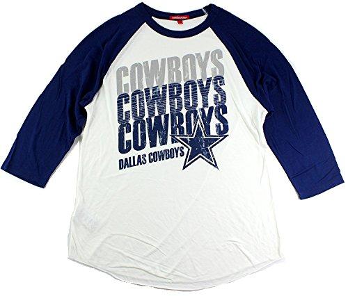 Dallas Cowboys Women's 3/4 Sleeve Distressed Raglan T-Shirt (Large)