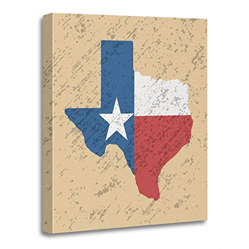 Emvency Painting Canvas Print Artwork Decorative Print Wooden Frame Worth Texas Grunge Style Flag Map Fort Retro Shape State Dallas Austin Abstract 16x20 Inches Wall Art for Home Decor -