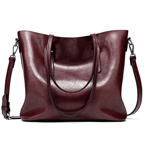 Large Red Womens Tote Bag Dark Vintage Style Soft Leather Work Handbags Shoulder gZZCpqROw