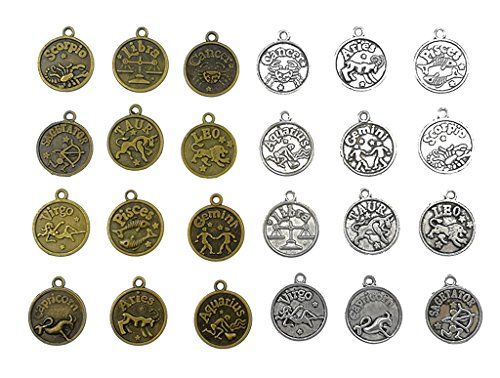 Kinteshun Alloy 12 Zodiac Signs Twelve Constellation Symbol Double Sided Lucky Charm Pendant for DIY Necklace Bracelet Jewelry Making Accessaries(2 sets,24pcs,Antique Silver&Bronze)