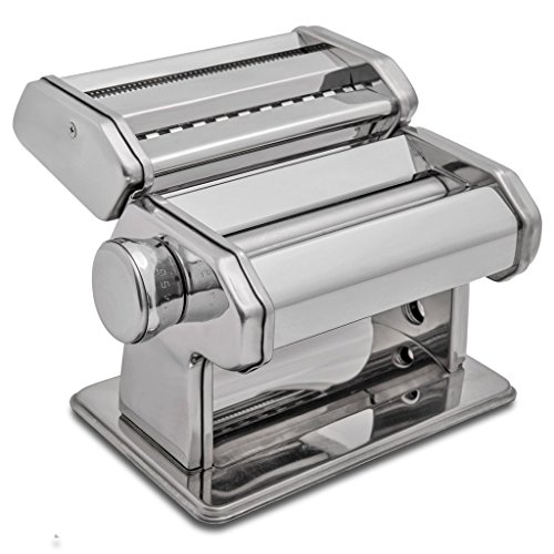 HuiJia Wellness 150 Pasta Maker Machine Stainless Steel Pasta Roller Machine Includes Pasta Cutter Hand Crank Attachments for Tagliattelle Linguine Lasagna (Lasagna Cutter)