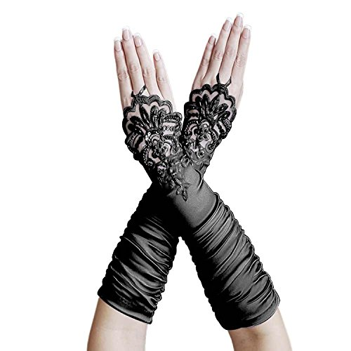 Dreamdress Black Gathered Satin Fingerless Bridal Gloves Floral Sequins Lace (Black), One Size