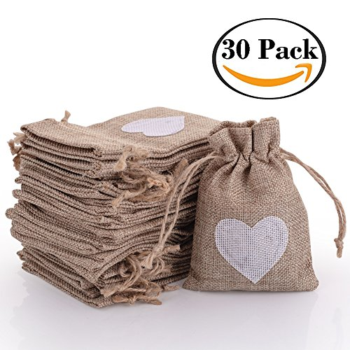 30pcs Burlap Bags with Drawstring Gift Pouches Heart Candy Jewelry Storage Package Sack for Wedding Bridal Shower Birthday Party Christmas Valentine's Day Favors DIY Craft, Natural 5.3x3.8 Inch - Personalized Jewelry Pouch